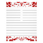 Red Damask Personalised Matching Recipe Paper Full Color Flyer