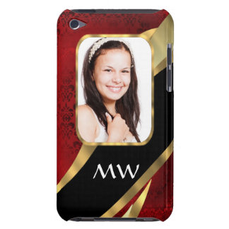 Red damask photo template barely there iPod cases