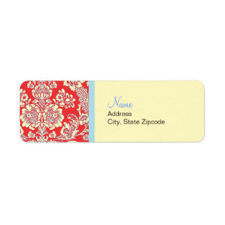 Red Damask Return Address Label