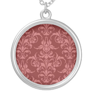 Red Damask Round Pendant Necklace