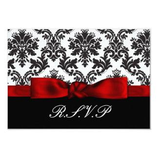 "red damask  rsvp cards standard 3.5 x 5 3.5"" x 5"" invitation card"