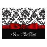 red  damask Save the date Custom Announcements