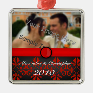 Red Damask Silver Couples Photo Christmas Ornament
