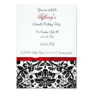 red damask Sweet Sixteen party Invitation