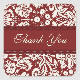 Red Damask Thank You Wedding Envelope Seals Square Sticker