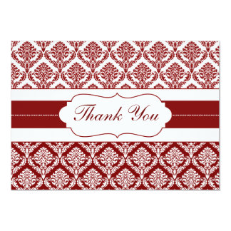 """red damask ThankYou Cards 5"""" X 7"""" Invitation Card"""