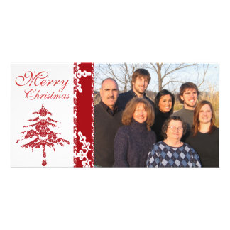 Red Damask Tree & Snowflakes  Merry Christmas Picture Card