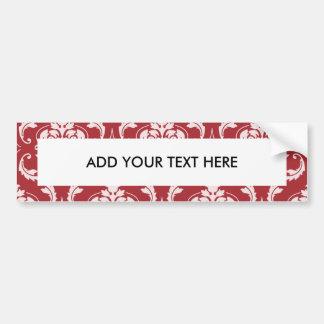 Red Damask Vintage Pattern Bumper Sticker
