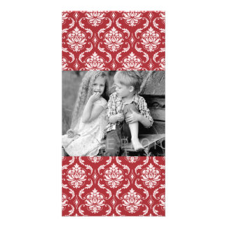 Red Damask Vintage Pattern Personalized Photo Card