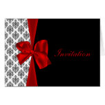 red damask  wedding Invitation cards