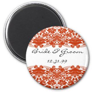 Red Damask Wedding Magnet