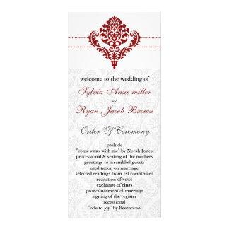 red damask Wedding program Custom Rack Cards