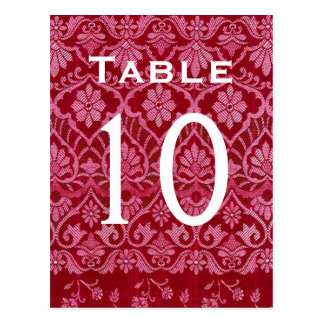 Red Damask Wedding Table Number Card Recepti Postcard