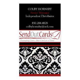 Red, DamaskBlack, Red, 3, COLBY HORNSBYIndepend... Pack Of Standard Business Cards