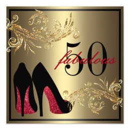 50th birthday invitations announcements zazzle uk red dancing shoes fabulous 50th birthday card filmwisefo Gallery