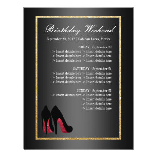 Red Dancing Shoes Itinerary - Birthday Flyer