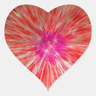 Red Dandelion Extrusion Heart Sticker