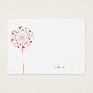 Red Dandelions Love Summer Wedding Place Cards