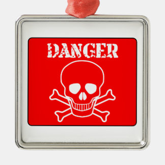 Red Danger Sign Christmas Ornament