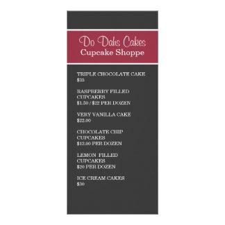 Red & Dark Gray Dessert menu Rack Cards