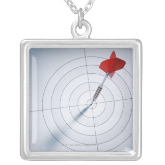 Red Dart Square Pendant Necklace