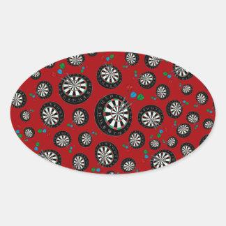 Red dartboard pattern oval stickers