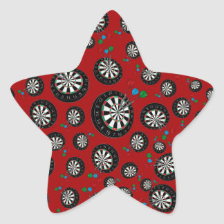 Red dartboard pattern star stickers