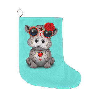Red Day of the Dead Baby Hippo Large Christmas Stocking
