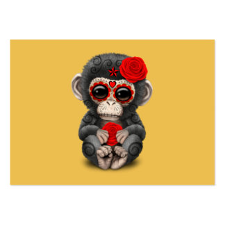 Red Day of the Dead Sugar Skull Baby Chimp Pack Of Chubby Business Cards