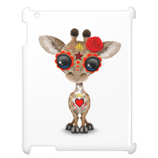 Red Day of the Dead Sugar Skull Baby Giraffe iPad Cover