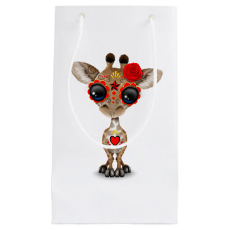 Red Day of the Dead Sugar Skull Baby Giraffe Small Gift Bag