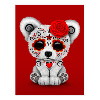 Red Day of the Dead Sugar Skull Bear Postcard