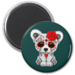 Red Day of the Dead Sugar Skull Bear Teal Blue 6 Cm Round Magnet
