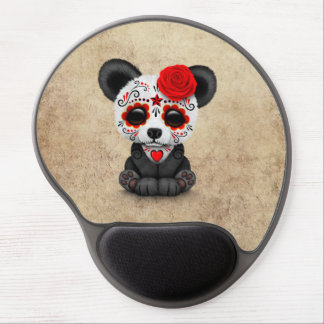 Red Day of the Dead Sugar Skull Panda Aged Gel Mouse Pad