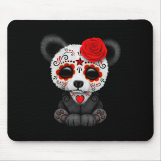 Red Day of the Dead Sugar Skull Panda on Black Mouse Pad