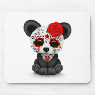 Red Day of the Dead Sugar Skull Panda on White Mouse Pad