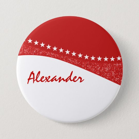 Red Dazzling Star Curves Button