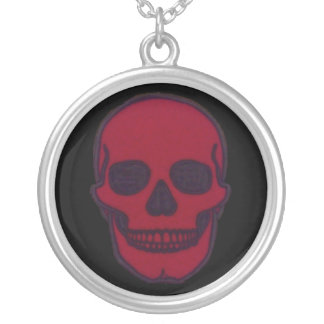 Red Dead Skull Brand Round Pendant Necklace