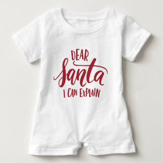 Red Dear Santa I Can Explain Hand Lettered Funny Baby Bodysuit