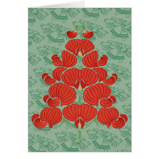 Red Deco Flower Christmas Tree Card