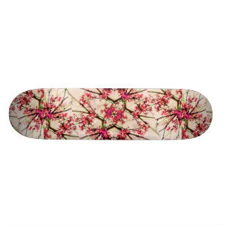 Red Deco Geometric Nature Collage Floral Motif Skate Board Deck