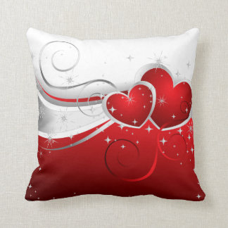 Red Deco Hearts American MoJo Pillow