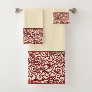 Red Deco Swirl Bath Towel Set