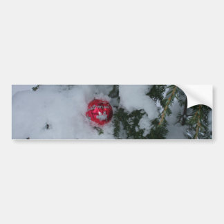 Red Decoration in Snow Bumper Sticker