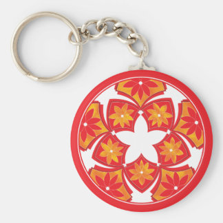 Red Decorative Floral Tiles Keychain