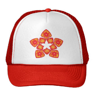 Red Decorative Floral Tiles Trucker Hat