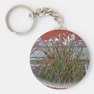 Red Decorative Grass Coordinating Items Basic Round Button Key Ring