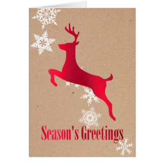 Red Deer and Snowflakes Holiday Greeting Card