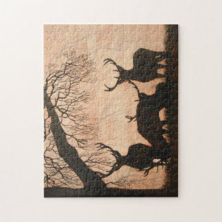 Red Deer Evening Silhouette 252 piece Puzzle