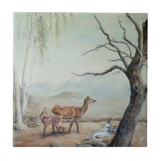 Red deer hind and fawn. small square tile